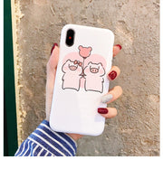 VIVIAUG Cartoon Pig Print Pattern Phone Case For Iphone X Case For Iphone 6 6S 5 7 8 Plus Soft TPU Back Cover Cute Couple Cases