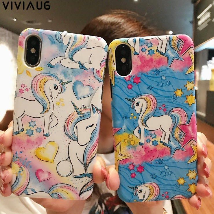 VIVIAUG Cute Cartoon Unicorn PC Hard Case For IPhone X 7 6 6S Plus 5s SE Phone Frosted Animal Cover Back For IPhone 6 7 6S Capa