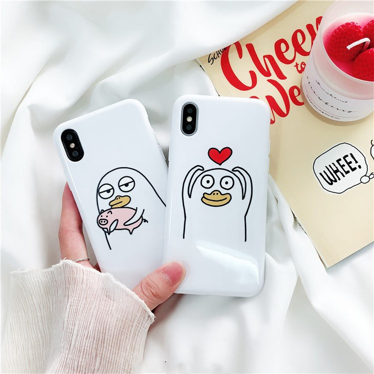 VIVIAUG For Coque Iphone X 8 7 Plus Case Silicone Soft TPU Funny Duck And Pig Phone Cases For Iphone 7 8 6 6S Plus X Case Cover