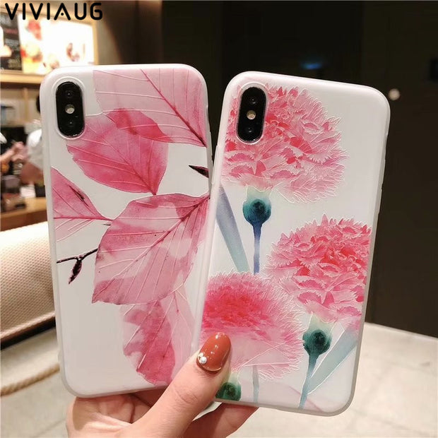 VIVIAUG Pink Flower Leaf Silicon Phone Case For IPhone7 8 Plus XS Max XR Rose Floral Cases For IPhone X 6 6S Plus Soft TPU Cover