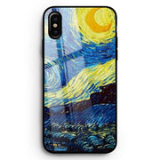 Van Gogh Starry Night Tempered Glass Phone Cases For Apple IPhone 6 6s 7 8 Plus X XS XR XS MAX Glass Silicone Phone Case Cover