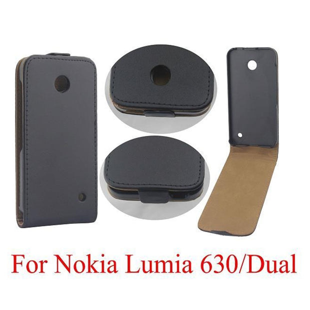 Vertical PU Leather Flip Case Fundas Capa For Nokia Lumia 630 Cover TPU Case Up-Down Open Skin Pouch Mobile Phone Bags