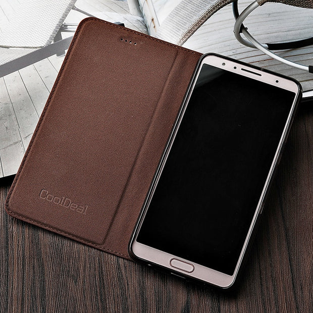 Vintage Litch Genuine Leather Case For Motorola Moto G6 / G6 Plus Mobile Phone Retro Flip Cover Leather Cases