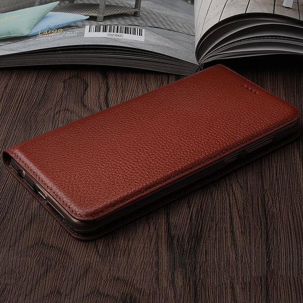 Vintage Litch Genuine Leather Case For Motorola Moto X4 Mobile Phone Retro Flip Cover Leather Cases