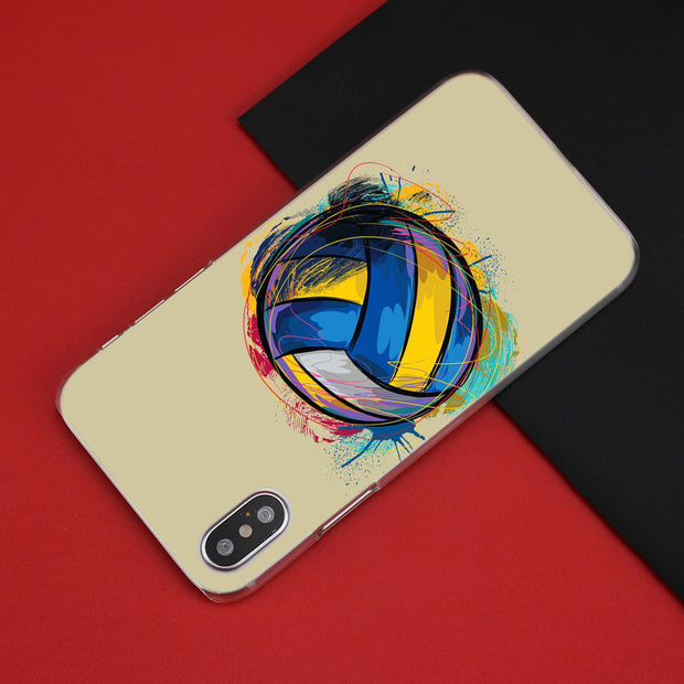 Volleyball Sports Case Cover Clear Hard PC For IPhone XS Max XR 7 8 6 6s Plus X 5 5s SE 5C 4 4S