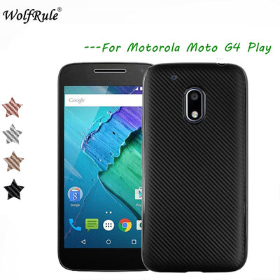 WolfRule SFor Case Moto G4 Play Cover Luxury Full Protection Carbon Fiber TPU Case For Motorola Moto G4 Play Case G4 Play 5.0""