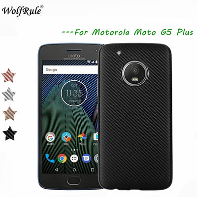 WolfRule SFor Case Moto G5 Plus Cover Luxury Full Protection Carbon Fiber TPU Case For Motorola Moto G5 Plus Case XT1687 XT1684