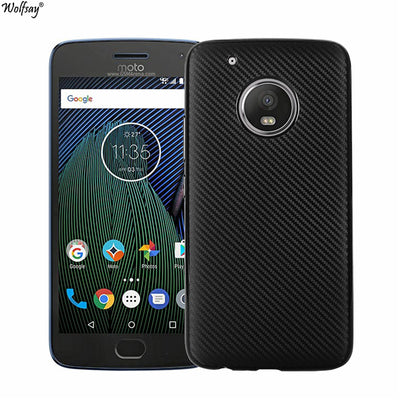 "Wolfsay New Carbon Brushed Case For Moto G5 Plus Cover 5.2"" Shockproof Slim Soft Silicone Cases For Moto G5 Plus XT161 XT1675"