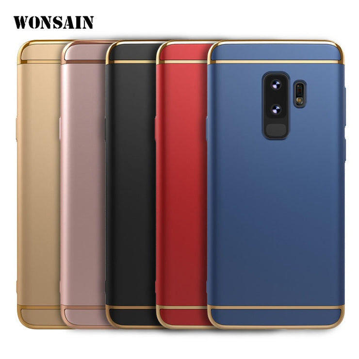 Wonsain 3 In 1 Luxury Plastic Case For Samsung Galaxy S Light S9+ S9 S8 S8+ S7 S7 Edge S6 S6 Edge Phone Back Cover Coque