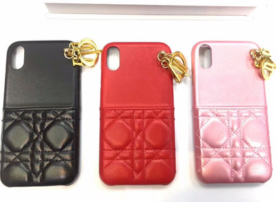 XINGDUO For IPhone XS Case Luxury Pu Material Metal Pendant Decoration Red Black Pink Color For Iphone X XR XS MAX 6 6S 7 8 PLUS