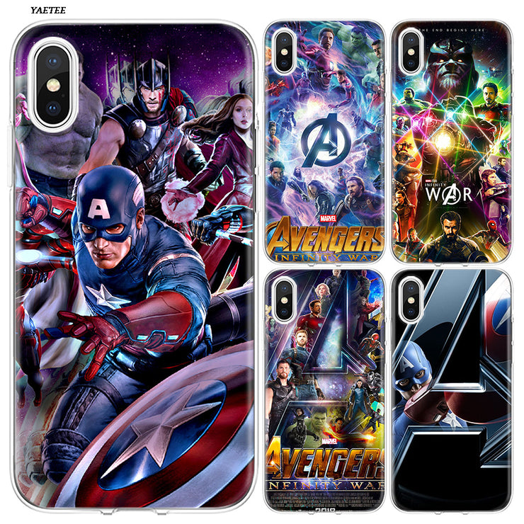 timeless design 7c079 15e0e YAETEE Marvel Superheroes The Avengers Silicone Case Cover Hull Shell For  Apple IPhone 7 8 6 6s Plus X 5 5S SE 5C