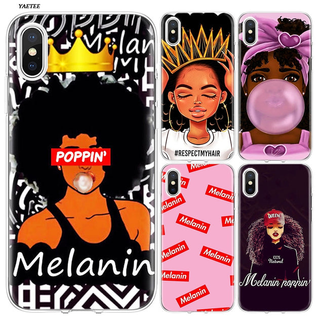 super popular fd3d0 60e73 YAETEE Melanin Poppin Black Queen Silicone Case Cover Hull Shell Protective  For Apple IPhone 7 8 6 6s Plus X 5 5S SE 5C
