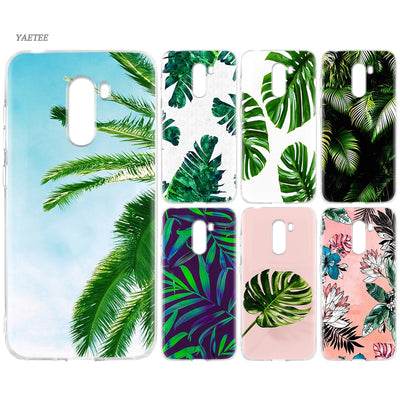 YAETEE Tropical Leaves Palms Tree Silicone Case For Xiaomi Pocophone F1 Mi A2 Lite A1 Redmi Note 4X 5 5A 6 Pro S2 Plus