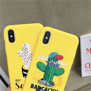 Yellow Funny Cactus Printed Phone Case For IPhone XS Max 6 6s 8 7 Plus Soft Silicone Back Cover For IPhone XR 10 Coque