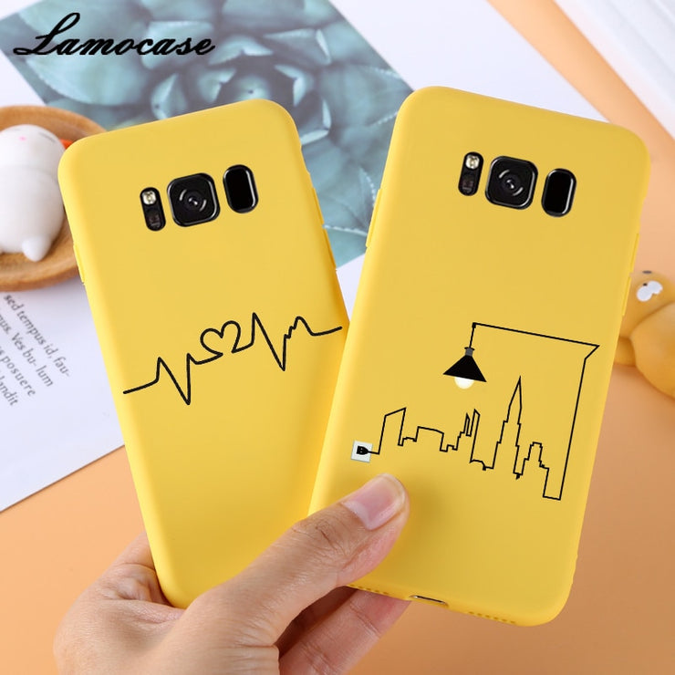 more photos 48d49 d7aff Yellow Matte Cartoon Phone Case For Samsung Galaxy S9 S8 Plus Silicon TPU  Cover For Samsung S8 S9 Plus Animals Pattern Cute Case