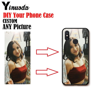 Yinuoda Personalized Customized DIY Black Silicone Soft Phone Case For Xiaomi Mi 8 Se 6 Note2 Note3 Redmi 5 Plus Note5 Cover
