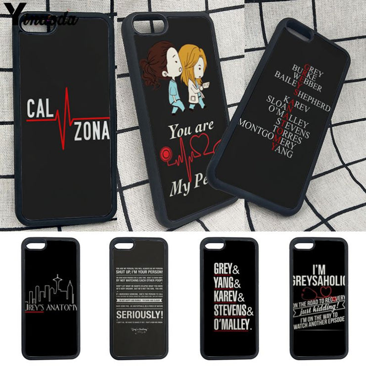 Yinuoda Greys Anatomy Soft Rubber Black Phone Case For Iphone X 8 8plus 7 7plus 6s 6s Plus 5 5s SE XS X