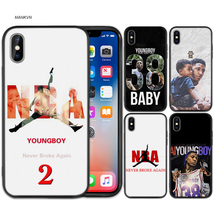new product 8ee0f d4800 Youngboy Never Broke Again Black Scrub Silicone Soft Case Cover Shell For  IPhone XS Max X XR 6 6s 7 8 Plus 5 SE 5S