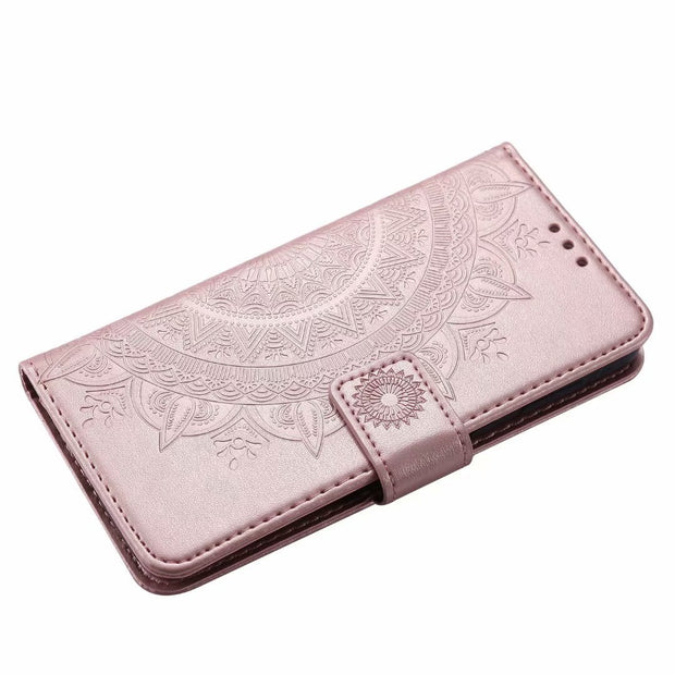 ZEALLION For Motorola Moto G5 G6 Plus Embossed Totems Flower Lace Leather Wallet Card Slot Flip Stand Case Cover