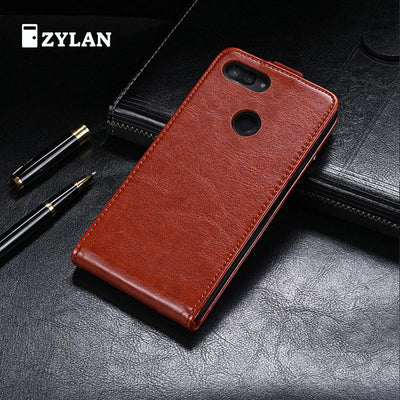 ZYLAN New Leather Up And Down Flip Case Cover For Xiaomi Mi 8 Lite Mi 8 Pro Black Brown Phone Bag + FREE GIFT