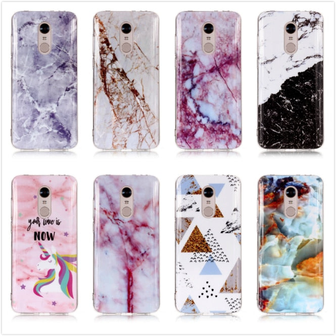 ZZCAJA For Xiaomi Redmi 4X 5A 5 Plus Note 5 Pro Case Cute Silicon Smooth Marble Granite Moor Stone Soft TPU Phone Cover Fundas