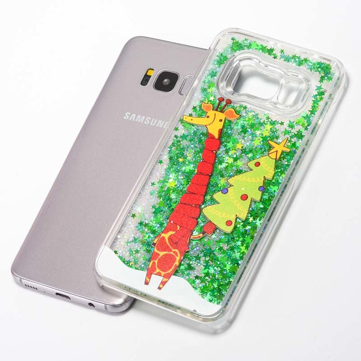 ZZCAJA Shiny Xmas Tree Hard Case For Samsung S8 Plus Cover Bling Liquid Flowing Quicksand Water Sequins For S7 S6 Edge Plus S5