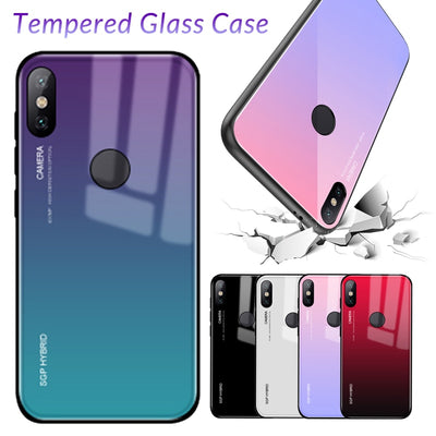 Zxtrby Tempered Glass Case For Xiaomi MI 8 SE Mix 2s Mi6 Mi5xa1 Gradient Glossy Aurora Luxury Cover Mobile Phone Bag Anti-shock