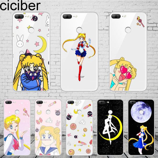 Ciciber Anime Girl Sailor Moon For Honor 10 9 8 Pro Lite X C Play Phone Case For Y 9 7 6 5 Prime Pro 2017 2018 2019 Coque TPU