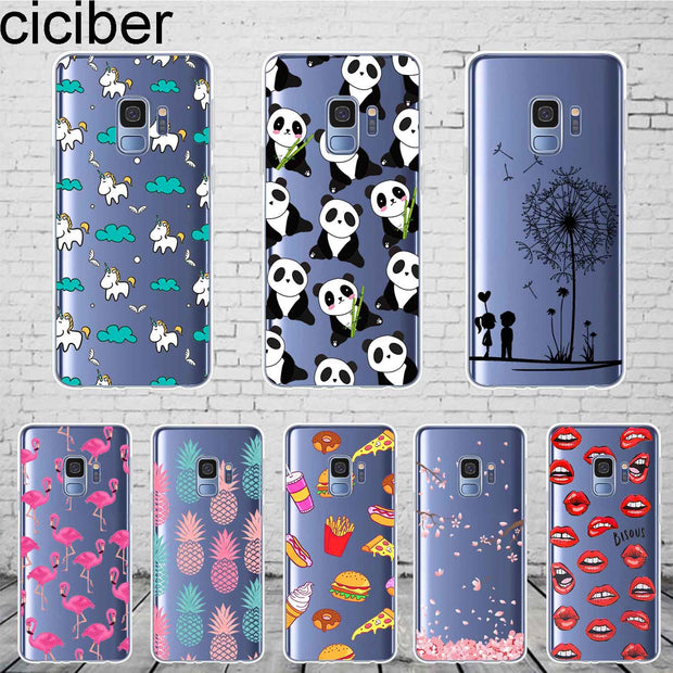 Ciciber Cute Patterned Samsung Galaxy S 5 6 7 8 9 Edge Plus Cover Soft Silicone TPU Phone Cases For Galaxy Note 3 4 5 8 9 Case
