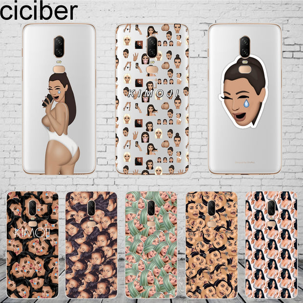 Ciciber Funny Face Kimoji Kim Kardashian Kanye Cover For Oneplus 6 6T 5 5T Phone Cases For 1+ 6 5 T Fundas Silicone TPU Coque