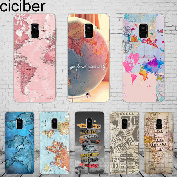 Ciciber World Map Travel For Samsung Galaxy A 7 5 6 8 9 S 2016 2017 2018 Phone Case Star C 9 7 5 10 PRO Plus Cover Silicone TPU