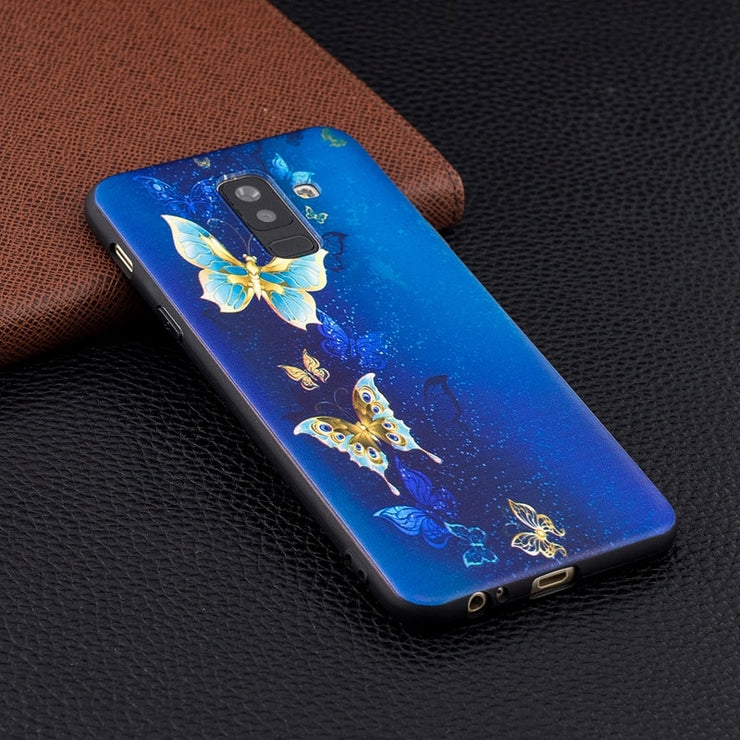 Loovedwj For Samsung Galaxy A3 A5 A6 A7 A8 Case Back Cover 3D Embossing Fashion Floral For Samsung Galaxy A6 A8 Plus Case 2018