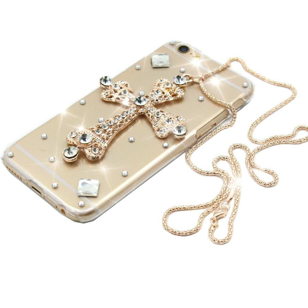 Luxury Cross Necklace Rhinestone Glitter Phone Case For Xiaomi Mi6 Mi6 Plus MI5S Plus MI Max 2 Note 2 MI Mix PC Hard Back Cover