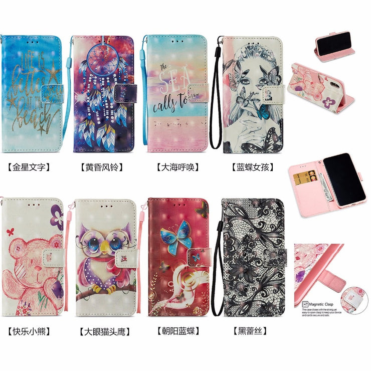 Maosenguoji 3D Cartoon Painted Leather Case Mobile Phone Case For IPhone 6 6s Plus 7 7plus 8 Plus X Pocket Bracket Business Case