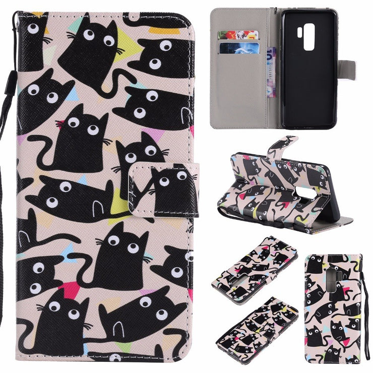 Maosenguoji Painted Leather Case Mobile Phone Case For Samsung GALAXY S3 4 S5 S6 S7 Edge S8 S9 Plus Pocket Bracket Business Case