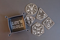 Black Gaming Dice Coaster and Dice Tray Set
