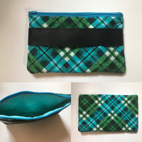 Top Zip Fully Lined Plaid Clutch