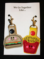 Cheeseburger And Fries Best Friends Snap Tab Keychain