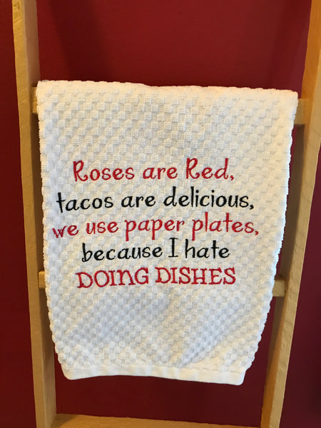 Tacos And Paper Plates Poem Kitchen Towel