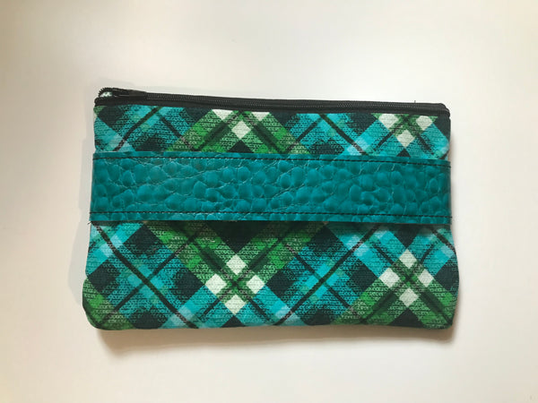 Top Zip Fully Lined Plaid Clutch Version 2