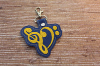 Heart Treble Bass Clef Music  Keychain