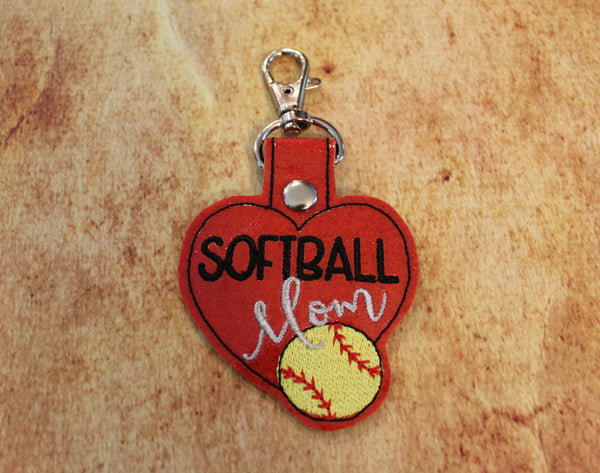 Softball Mom Heart Key Chain