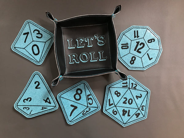 Blue Gaming Dice Coaster and Dice Tray Set