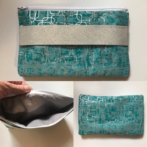 Fully Lined Blue Mod Print Clutch