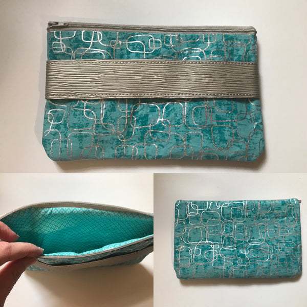 Fully Lined Blue Mod Print Clutch Version 2
