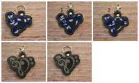 Treble Bass Clef Heart Music Keychain