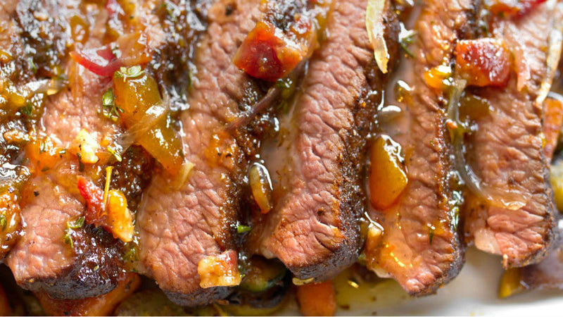 Beef Brisket with Bourbon and Bacon Peach Glaze