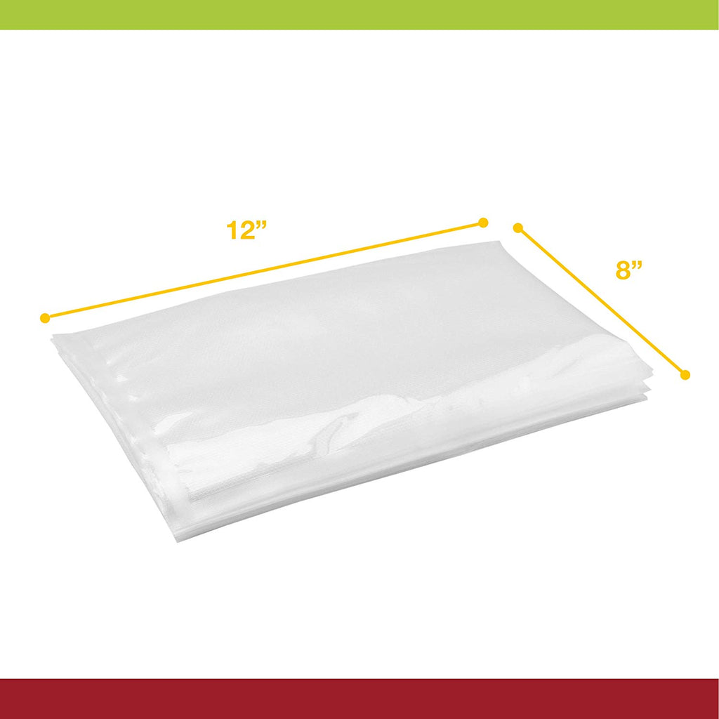 "Vesta Vacuum Seal Pouches, Clear and Embossed, Cooking Level - 8""x12"" 25 Per Box"