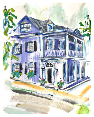 "Blue Charleston House | 9"" x 12"" on Paper"