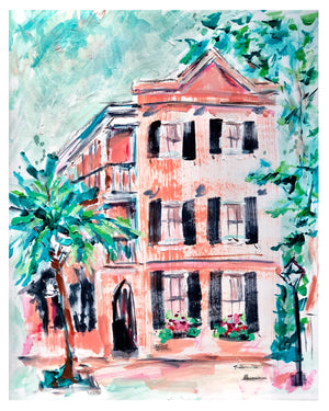 "Coral Charleston House | 9"" x 12"" on Paper"